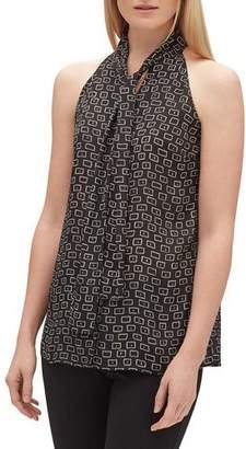 e10c724d0b7c2 Lafayette 148 New York Amore Piazza-Print Tie-Neck Halter Top