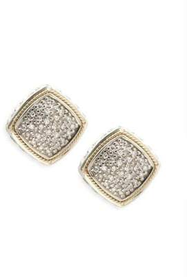 Effy Diamond, 18K Yellow Gold and Sterling Silver Stud Earrings, 0.21 TCW