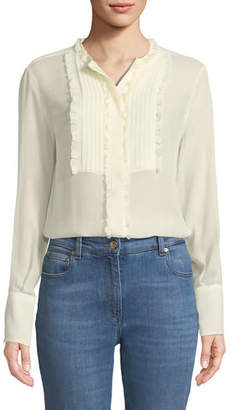 Etro Long-Sleeve Silk Georgette Tunic w/ Ruffled Pleated Bib