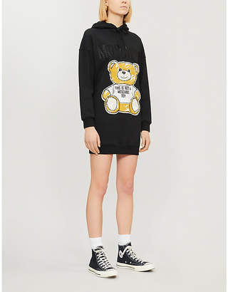 Moschino Oversized teddy-print cotton-blend hoody