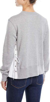 Sacai Crewneck Long-Sleeve Sweatshirt w/ Poplin Lace-Up Side