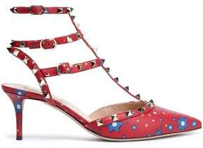 Valentino Studded Printed Leather Pumps
