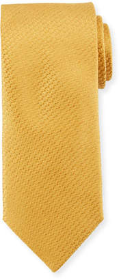 Canali Textured Solid Silk Tie, Gold Yellow
