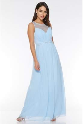 Quiz Pale Blue Chiffon High Neck Maxi Dress