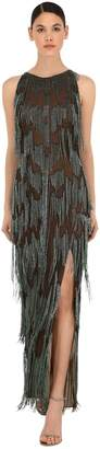 Azzaro Silk Tulle Long Dress W/ Bead Fringes