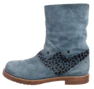 Marc Jacobs Suede Shearling-Trimmed Boots Blue Suede Shearling-Trimmed Boots