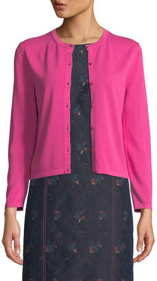 Carolina Herrera Crew-Neck Button-Down Crop Cardigan