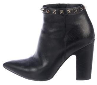 Valentino Leather High-Heel Booties Black Leather High-Heel Booties