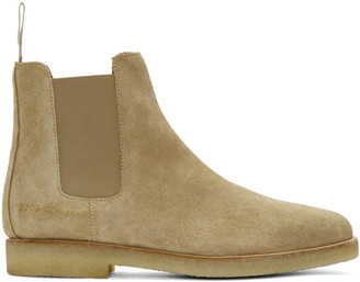 Common Projects Beige Suede Chelsea Boots $530 thestylecure.com