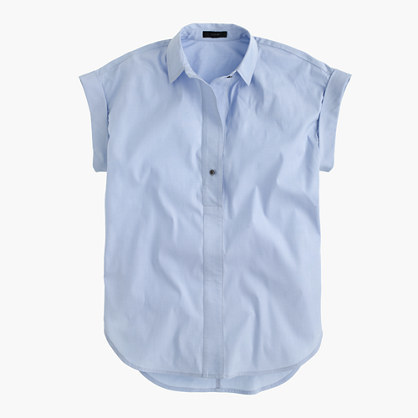 J.Crew Petite short-sleeve popover shirt in oxford blue