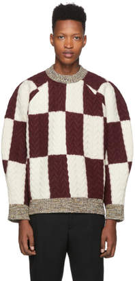 Sunnei Burgundy and Off-White Wool Oversize Sweater