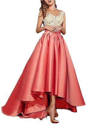 JINGDRESS High Low Lace Prom Dresses Long Evening Formal Gown for Women
