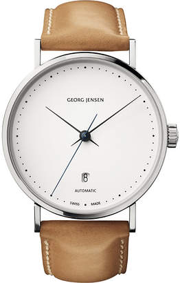Georg Jensen Koppel stainless steel and leather watch 41mm