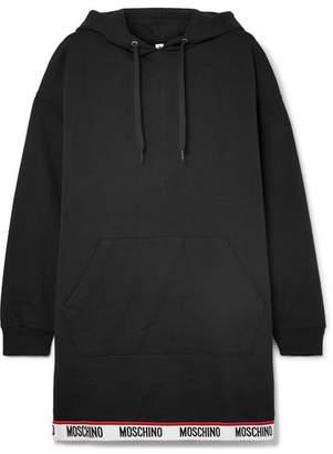Moschino Hooded Stretch Cotton-jersey Mini Dress - Black