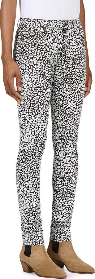 Saint Laurent Black & White Babycat Print Skinny Jeans