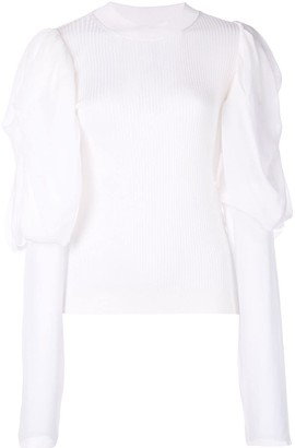 Vera Wang panelled ribbed-knit jumper