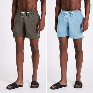 River Island Khaki green and light blue swim trunks pack