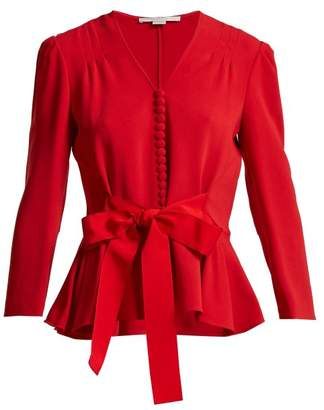 Stella McCartney V Neck Bow Front Top - Womens - Red
