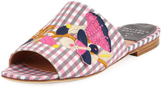 Laurence Dacade Nice Embroidered Gingham Slide Sandals