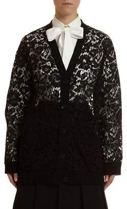 Valentino V-Neck Heavy Lace Cardigan