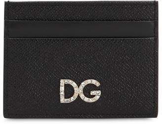 Dolce & Gabbana Dauphine Leather Crystals Card Holder