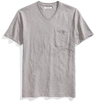 Goodthreads Men's V-Neck Lightweight Striped Slub Pocket T-Shirt