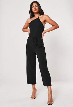 Missguided Petite Black One Shoulder Romper
