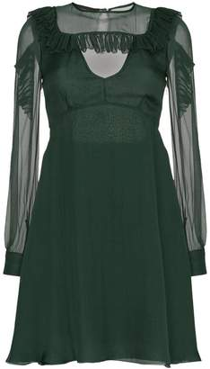 Rochas Ruffle Shoulder Chiffon Dress