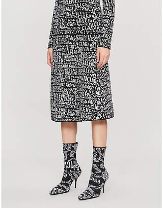 Balenciaga Logo-print fluffy-knit midi skirt