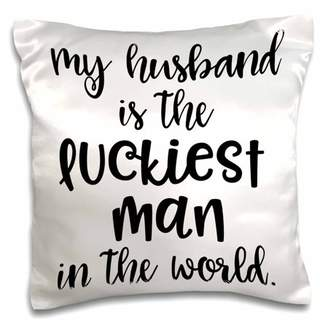 3dRose My Husband Is the Luckiest Man Ever - Funny Wedding Gift - Pillow Case, 16 by 16-inch