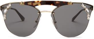 Embellished aviator metal sunglasses