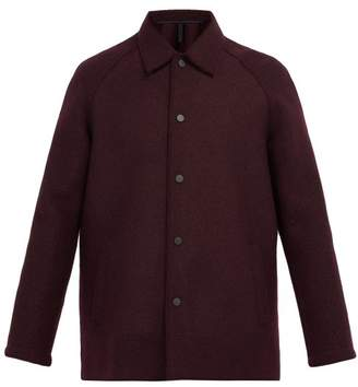 Harris Wharf London Single Breasted Wool Overcoat - Mens - Burgundy