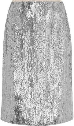 J.Crew - Austen Sequined Crepe De Chine Pencil Skirt - Silver $150 thestylecure.com