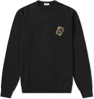 Saint Laurent Playing Card Embroidery Cashmere Crew Knit
