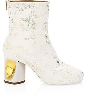 Maison Margiela Women's Painted Crushed Metallic Ankle Boots