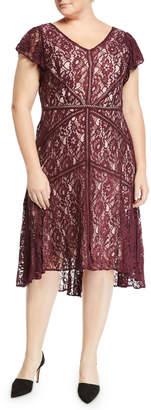 Taylor Lace Ruffle-Sleeve A-Line Dress, Plus Size