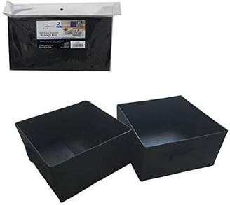 Mainstays Half-Size Collapsible Storage Bins - Set of 2 (Black)