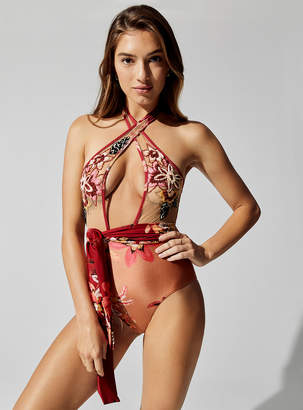 PatBO Embroidered Cross-Front One Piece