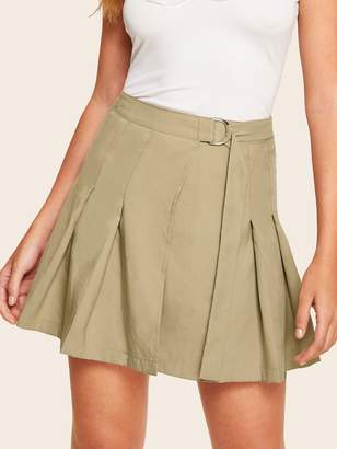 eca3e2d516 Shein D-ring Belted Pleated Skirt