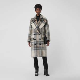 Burberry Check Wool Oversized Tailored Coat