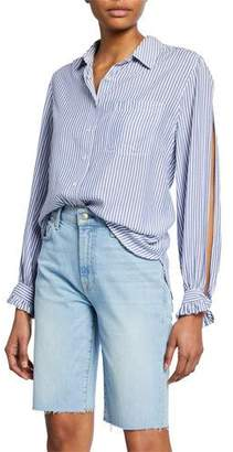 7 For All Mankind Striped Button-Down Split-Sleeve Shirt