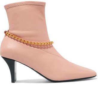 Jil Sander Embellished Leather Sock Boots - Blush