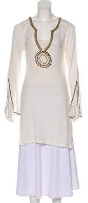 Melissa Odabash Embellished Long Sleeve Tunic