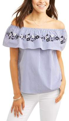 ALISON ANDREWS Alison Andrews Women's Off the Shoulder Ruffle Embroidered Stripe Top