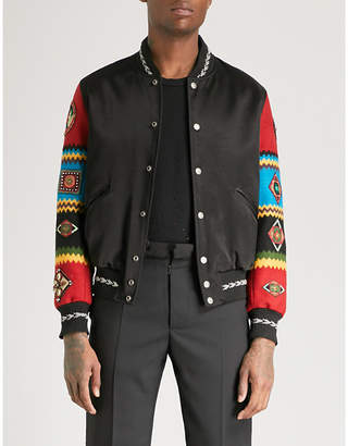 Saint Laurent Embellished-sleeve satin and wool bomber jacket
