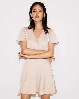 Express Petite Satin Surplice Flutter Sleeve Fit And Flare Dress
