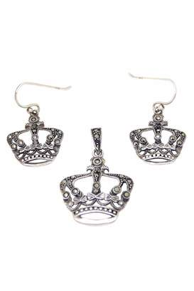 32df5bea4 Diane's Accessories Crown-Pendant &-Earring Sterling-Silver