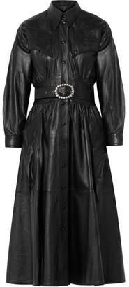 Dodo Bar Or - Crystal-embellished Belted Leather Midi Dress - Black