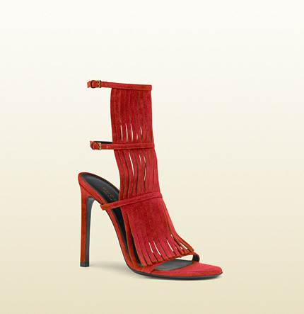 Gucci Becky Suede Fringed High Heel Sandal