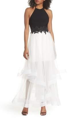 Blondie Nites Applique Tiered Gown